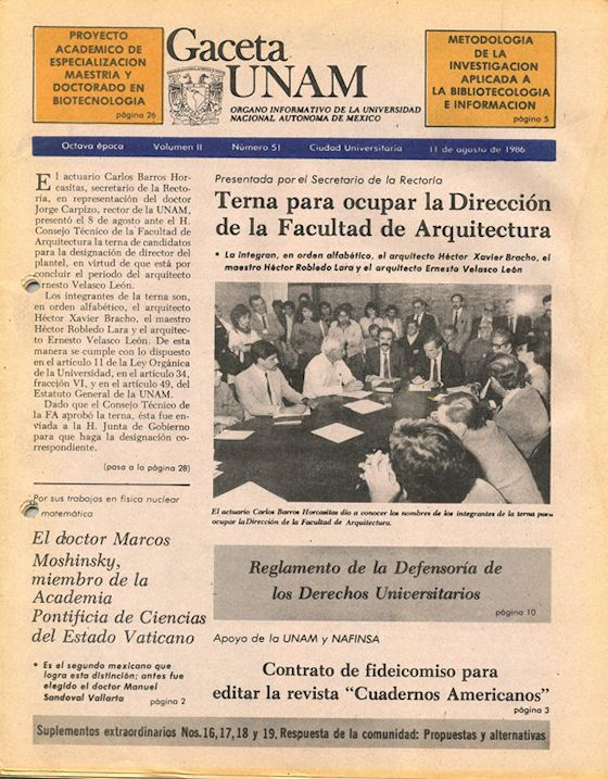 Portada de Gaceta UNAM 1986